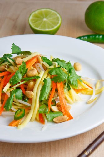 Thai Green mango salad with peanuts.