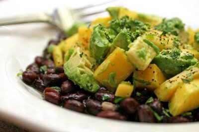 Mango & avocado salad with black beans.