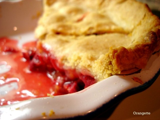 Rhubarb pie with orange zest
