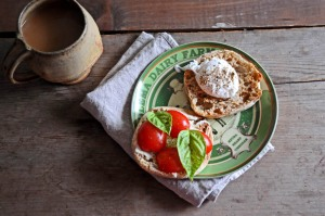 poached egg, heirloom tomatoes, & basil on a whole wheat english muffin
