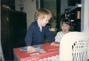 Riley & me excited about something fisher price...