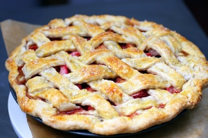 I love me some strawberry rhubarb lattice-topped pie. Mmm...