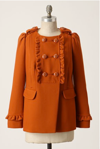 From Anthropologie. I'm not usually a fan of burnt orange, but this coat pulls it off.