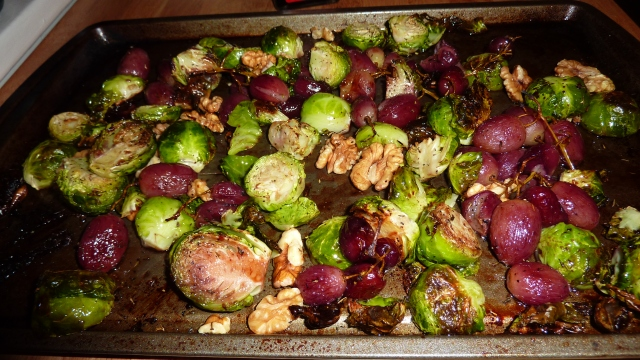 roasted brussels sprouts with grapes & walnuts. | joie de ...